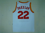 Houston Rockets #22 Clyde Drexler Throwback White Jersey