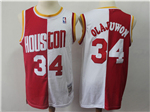 Houston Rockets #34 Hakeem Olajuwon 1993-94 Red White Split Hardwood Classic Jersey