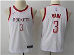 Houston Rockets #3 Chris Paul 2017/18 Youth White Swingman Jersey