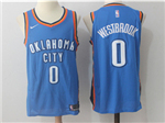 Oklahoma City Thunder #0 Russell Westbrook Blue Authentic Jersey
