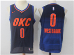 Oklahoma City Thunder #0 Russell Westbrook Navy Authentic Jersey