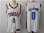 Oklahoma City Thunder #0 Russell Westbrook White Authentic Jersey