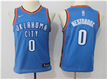 Oklahoma City Thunder #0 Russell Westbrook Youth Blue Swingman Jersey