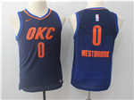 Oklahoma City Thunder #0 Russell Westbrook 2017/18 Youth Navy Swingman Jersey