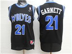 Minnesota Timberwolves #21 Kevin Garnett Throwback Black Jersey