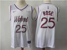 buy popular 9da9d 8e214 Minnesota Timberwolves #25 Derrick Rose 2018/19 White Earned ...