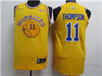 Golden State Warriors #11 Klay Thompson Gold Throwback Authentic Jersey