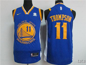 Golden State Warriors #11 Klay Thompson Blue Authentic Jersey