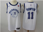 Golden State Warriors #11 Klay Thompson Throwback White Jersey
