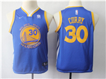 Golden State Warriors #30 Stephen Curry 2017/18 Youth Blue Swingman Jersey