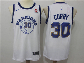Golden State Warriors #30 Stephen Curry Throwback White Swingman Jersey
