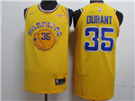 Golden State Warriors #35 Kevin Durant Gold Throwback Authentic Jersey