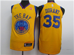 Golden State Warriors #35 Kevin Durant Gold City Edition Authentic Jersey