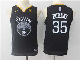 Golden State Warriors #35 Kevin Durant 2017/18 Youth Black Swingman Jersey