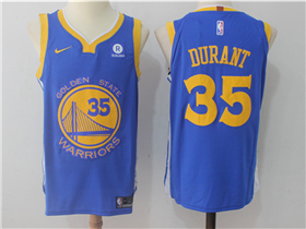 Golden State Warriors #35 Kevin Durant 2017/18 Blue Authentic Jersey