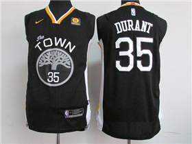 Golden State Warriors #35 Kevin Durant 2017/18 Black Authentic Jersey