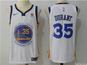 Golden State Warriors #35 Kevin Durant 2017/18 White Authentic Jersey