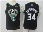 Milwaukee Bucks #34 Giannis Antetokounmpo 2017/18 Youth Black Jersey