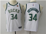 Milwaukee Bucks #34 Giannis Antetokounmpo 2017/18 Youth White Jersey