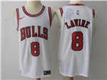 Chicago Bulls #8 Zach LaVine 2017/18 White Jersey