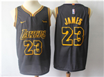 Los Angeles Lakers #23 Lebron James Black City Edition Authentic Jersey