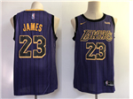 Los Angeles Lakers #23 Lebron James 2018/19 Purple City Edition Swingman Jersey