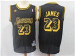 Los Angeles Lakers #23 Lebron James Black Hardwood Classic Jersey