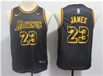 Los Angeles Lakers #23 Lebron James Youth Black City Edition Swingman Jersey