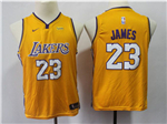 Los Angeles Lakers #23 Lebron James 2017/18 Youth Gold Swingman Jersey