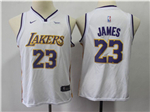 Los Angeles Lakers #23 Lebron James 2017/18 Youth White Swingman Jersey