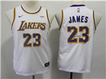 Los Angeles Lakers #23 Lebron James 2018/19 Youth White Swingman Jersey