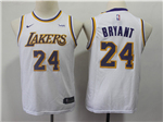 Los Angeles Lakers #24 Kobe Bryant 2018/19 Youth White Swingman Jersey