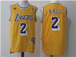Los Angeles Lakers #2 Lonzo Ball Gold Hardwood Classic Jersey