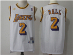 Los Angeles Lakers #2 Lonzo Ball White Hardwood Classic Jersey