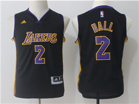 Los Angeles Lakers #2 Lonzo Ball Youth Black Jersey