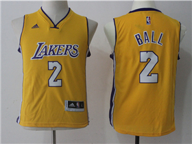 Los Angeles Lakers #2 Lonzo Ball Youth Gold Jersey