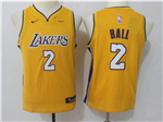 Los Angeles Lakers #2 Lonzo Ball 2017/18 Youth Gold Swingman Jersey