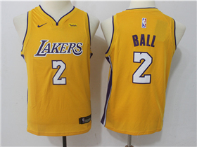 Los Angeles Lakers #2 Lonzo Ball Youth 2017/18 Gold Jersey