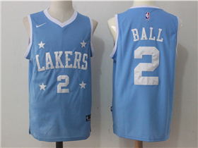 Los Angeles Lakers #2 Lonzo Ball Light Blue Jersey