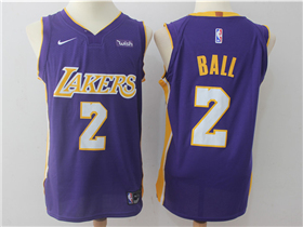 Los Angeles Lakers #2 Lonzo Ball 2017/18 Purple Authentic Jersey