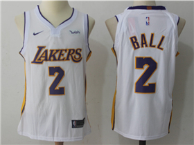 Los Angeles Lakers #2 Lonzo Ball 2017/18 White Authentic Jersey