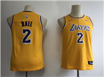 Los Angeles Lakers #2 Lonzo Ball 2018/19 Youth Gold Swingman Jersey