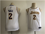 Los Angeles Lakers #2 Lonzo Ball 2018/19 Youth White Swingman Jersey
