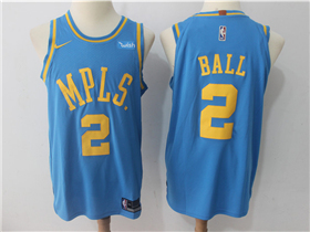 Los Angeles Lakers #2 Lonzo Ball Throwback Light Blue Authentic Jersey
