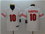 San Francisco 49ers #10 Jimmy Garoppolo Youth White Color Rush Limited Jersey