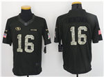 San Francisco 49ers #16 Joe Montana Anthracite 2016 Salute to Service Jersey