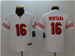 San Francisco 49ers #16 Joe Montana Youth White Color Rush Limited Jersey