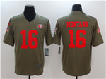 San Francisco 49ers #16 Joe Montana 2017 Olive Salute To Service Limited Jersey