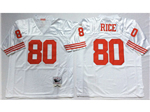 San Francisco 49ers #80 Jerry Rice White Throwback Jersey