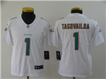 Miami Dolphins #1 Tua Tagovailoa Youth White Vapor Untouchable Limited Jersey